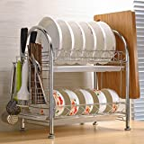 Hyun times Stainless steel dish rack dish rack Drain double-decker kitchen shelf storage rack kitchen supplies