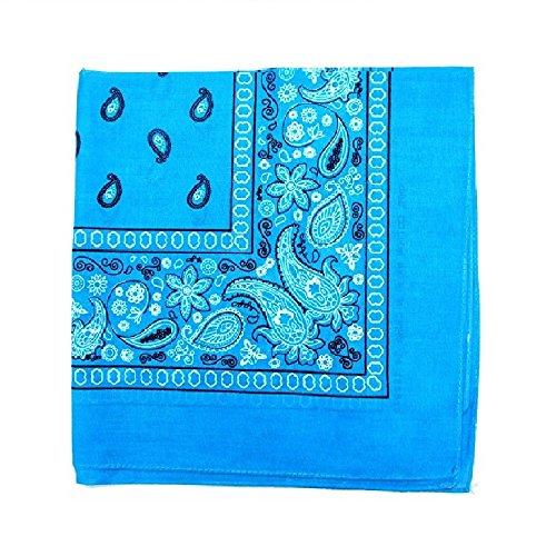 Mechaly Paisley 100% Polyester Unisex Bandanas - 12 Pack - Dozen Wholesale (Turquoise) (Turquoise Paisley)