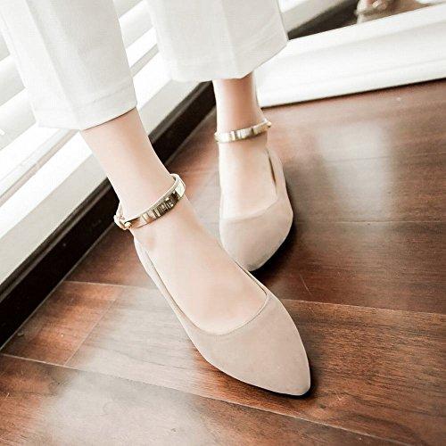 Show Glans Womens Fashion Fotled Spänne Spetsiga Tå Flats Skor Beige
