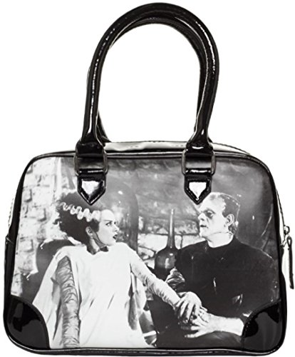Bowler Handbag Bag (Black and White Universal Monsters Frankenstein and Bride Purse)