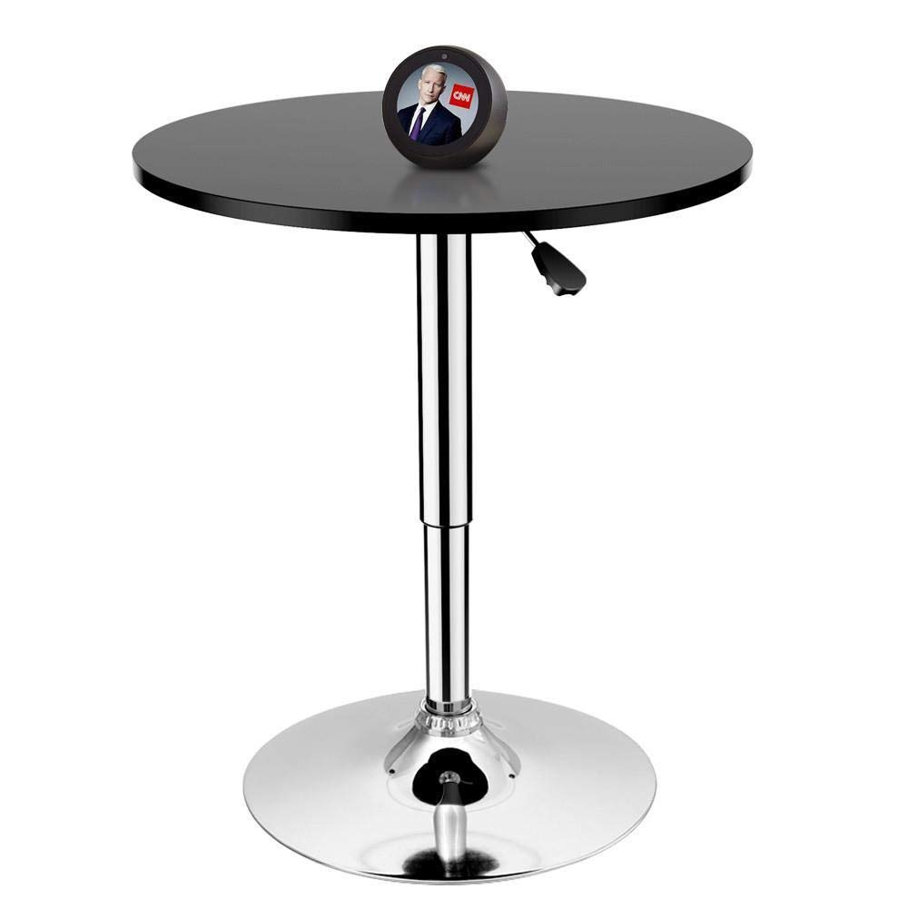 Yaheetech Round Pub Bar Table Black MDF Top with Silver Leg Base 27.4-35.8 inch Adjustable 66Lb Capacity YT-1580