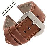 Gilden 22-26mm Gents Water-Resistant Panerai-Style Watch Strap WRPAN-1324 (24 Millimeter end Width, Brown)