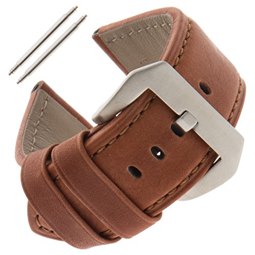 Gilden 22-26mm Gents Water-Resistant Panerai-Style Watch Strap WRPAN-1324 (24 Millimeter end Width, Brown) by Gilden