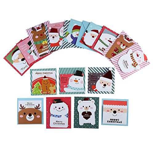 niceEshop(TM) Merry Christmas Greeting Cards, New Year Greeting Cards, Original Design Cute 16 Cards with 16 Envelopes Original Christmas Cards