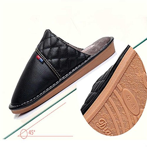 W&XY Cotton slippers Men interior plaid waterproof velvet warm winter shoes 42 1wgY8