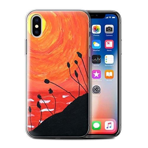 Stuff4 Gel TPU Hülle / Case für Apple iPhone X/10 / Orange Muster / Sonnenuntergang Ölgemälde Kollektion