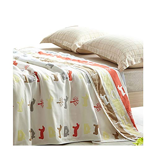 - Uozzi Bedding 6 Layers of 100% Hypoallergenic Muslin Cotton Baby Toddler Striped Premium Blanket for Children Teens Adults, Cute House & Horse Printed Pattern. (Horse, 56