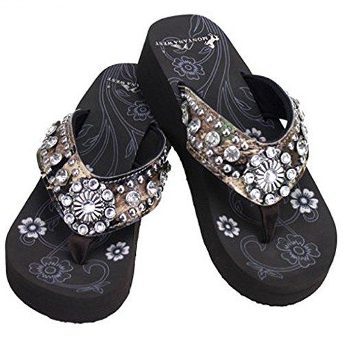 West Women's Hand Sandals Pinkcamoflwbling Flip Beaded Flop Montana AHzSxqpw