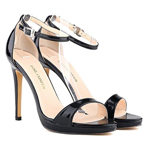 Sandals Dress 5 Open BlackPA Ankle LOSLANDIFEN Women's 806 Straps Toe xqAYnSfw