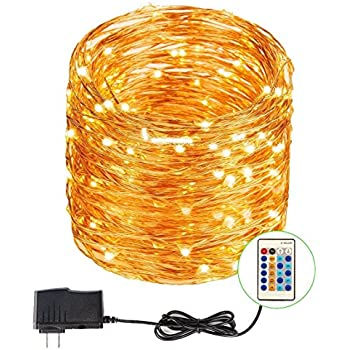 UL Certified Indoor Outdoor Waterproof Dimmable Festival Christmas Hoilday Copper String LED Lights 66ft 200 LEDs with remote control ( Warm White )
