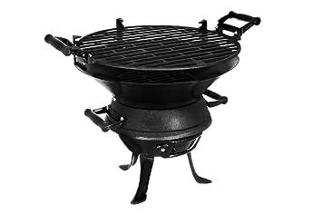 Barbacoa de leña y carbón para el aire libre, de hierro fundido