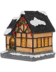 NUOBESTY Christmas Village House with LED Light Village Houses Town Lit Building Tabletop Christmas Decoration Xmas Figurine Holiday Decor (Random Color)