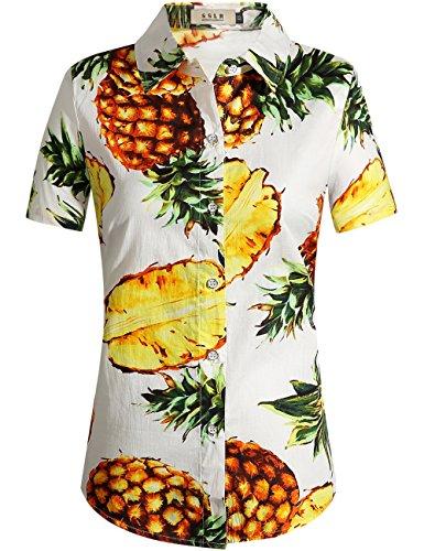 Hawaiian Street Shirt (SSLR Women's Pineapple Short Sleeve Casual Button Down Hawaiian Shirt (Large, White))