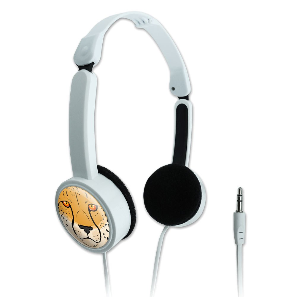 Novelty Travel Portable On-Ear Foldable Headphones Animals Going On Safari - Cheetah Face Safari