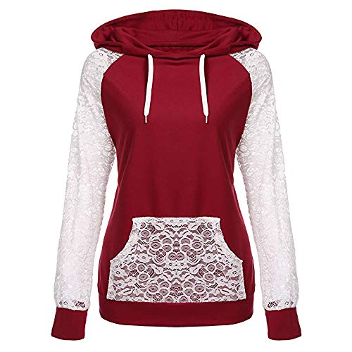Most Popular! Sunyastor Womens Lace Patchwork Hooded Sweatshirt,Winter Warm Pullover Hoodie Coat Outerwear Tops Wine Red