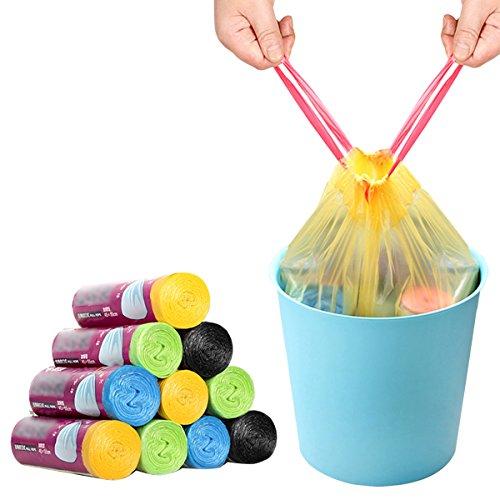 EUBUY Thicken Drawstring Rubbish Bags - Household Kitchen Automatic Close Drawstring Trash Bags Garbage Bags Rubbish Bags 45×55cm