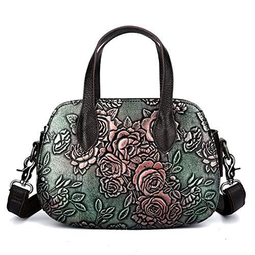 Vintage Women Genuine Leather handbags Ladies Embossed Shoulder Bag Luxury Brand Crossbody Bag Female Small Tote Bolsas,Green