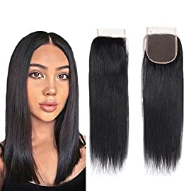 100% Unprocessed Brazilian Straight Closure size 4×4 100% Human Hair Closure Li Queen Top Lace Closure 14 inch Free Part…