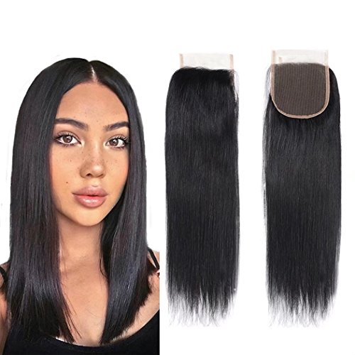 Unprocessed Brazillian Virgin Hair Straight Lace Closure size 4x4 100% Human Hair Li Queen Top Lace Closure Free Part 1B# Color 20 inch