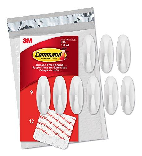 Designer Hanging (Command Medium Designer Hooks, White, 9-Hooks, 12 Strips (GP081-9NA) - Easy to Open Packaging)