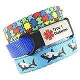 3 Bracelet Value Pack | Type 1 Diabetes, Kid's Medical Alert Bracelets | Choice of Fun Designs | Children's Medical ID Bracelets | Adjustable | Puzzle & Jaws