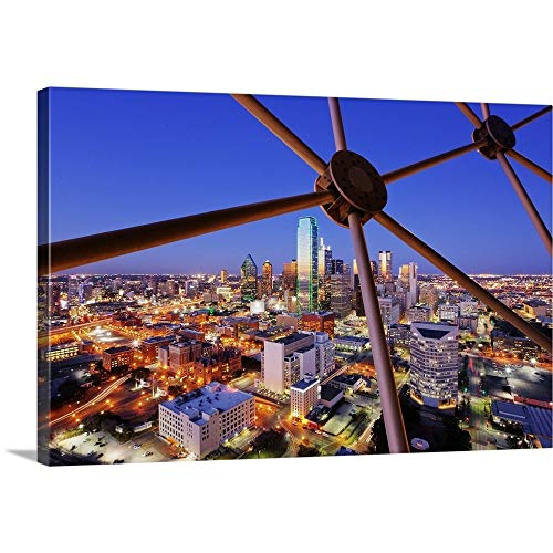 - Dallas Skyline from Reunion Tower, Texas Canvas Wall Art Print, 36