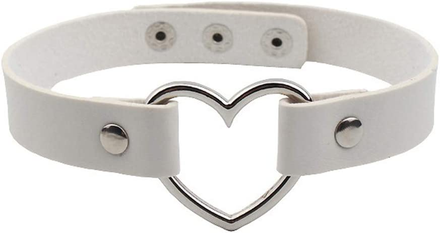 SOURBAN Punk Heart Choker Collar PU Necklace Adjustable Gothic Chain,Blue