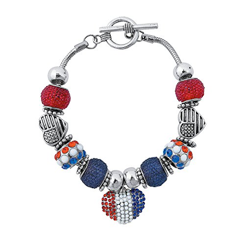Fun Express - Patriotic Sugar Bead Bracelet Craft Kit for Fourth of July - Craft Kits - Adult Jewelry Craft Kits - Adult Bracelet - Fourth of July - 2 Pieces (Kids Charm July)