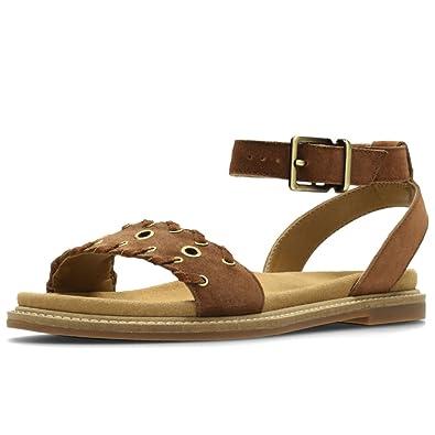 cd86f0eef Clarks Corsio Amelia Womens Wide Flat Sandals 9 Dark Tan Suede ...