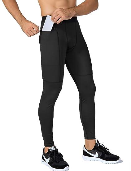 9730c8057c67cc Lavento Men's Compression Pants Pocket Baselayer Cool Dry Ankle Leggings  Active Tights (1 Pack-