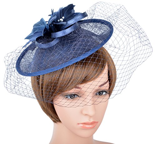 Womens Ladies Sinamay Fascinator Hat with Clip One Size A-Navy Blue