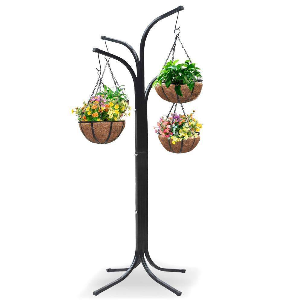 Yaheetech 4-Arm Tree with 4 Hanging Baskets Patio Stand Garden Plant