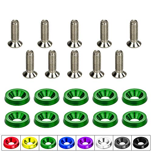 (CNC Billet Aluminum Bumper Fender Washer/Bumper Washer Bolt/Engine Bay Dress Up 10 Pcs Kit (Green))