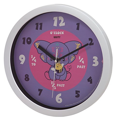 Unity Pink Chilies Yara Silent Sweep Learn The Time Wall Clock, 10-Inch, Purple ()