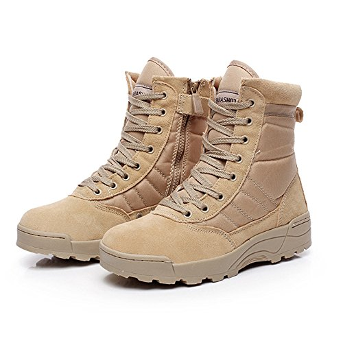 Army Mens Shoes - YING LAN Men's Tactical Military Combat Boots Side Zipper Army Outdoor Hiking High Top Shoes Tan