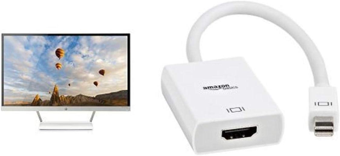 HP Pavilion 27xw 27-in IPS LED Backlit Monitor & Amazon Basics Mini DisplayPort (Thunderbolt) to HDMI Adapter Bundle