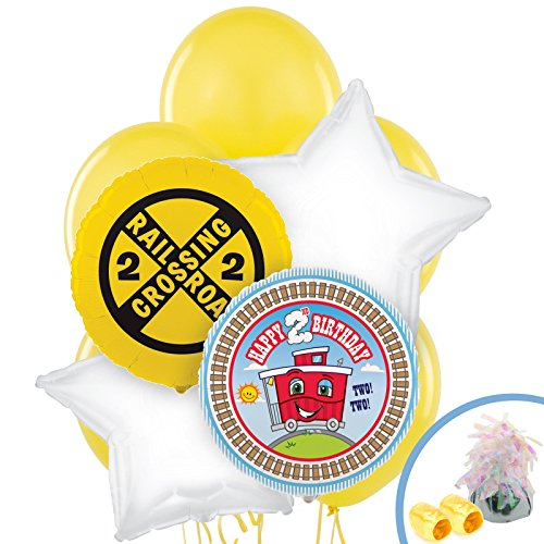 Two-Two Train 2nd Birthday Balloon Bouquet ()