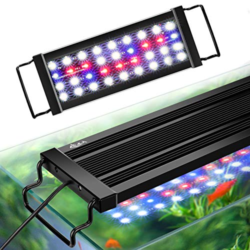 AQQA Aquarium LED Lights,Fish Tank Light with Extendable Brackets,Waterproof Full Spectrum Blue Red White LEDs with External Timer Controller for Freshwater Planted (Black, 11W (12