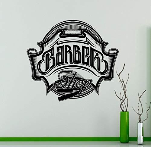 - CELYCASY Barbershop Emblem Vinyl Decal Hairdressing Salon Wall Vinyl Sticker Hairstyles Home Interior Decor Art Murals Window Stickers 16(BRS)