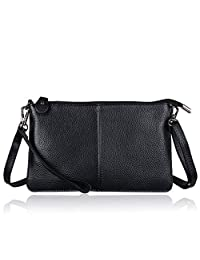 Belfen® Women's Soft-Feel Smartphone Leather Wristlet Crossbody Wallet, Belfen® [Handmade genuine Leather] [Black]clutch wallet with crossbody strap-for Smartphone up to 5.5 Inch (Black)