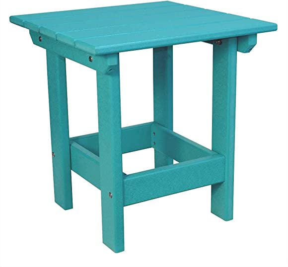 """ECCB Outdoor Outer Banks Value Line Poly Lumber 18"""" Square Side Table Aruba Blue"""
