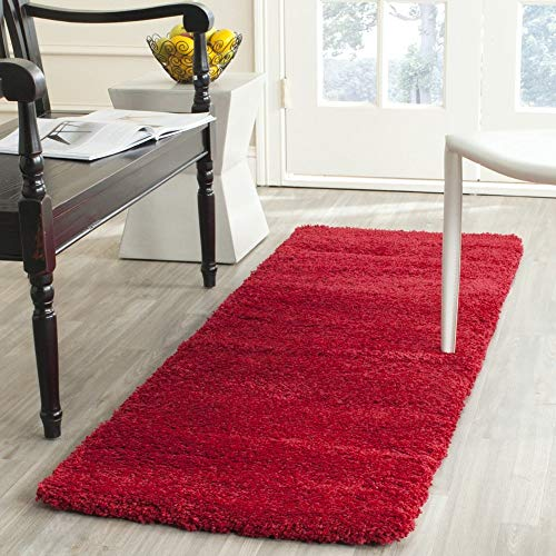 (Milan Shag Collection SG180-4040 Red Runner (2' x 6'), Home Decor Area Rugs Runner for Living Room Dining Room Bedroom)