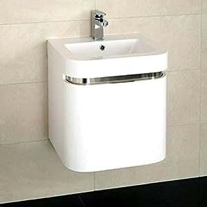 500mueble con lavabo para baño de baño lavabo–pared de cierre suave moderno blanco diseño curvo–inserción Polyglomerate piedra se debe lavar a mano fregadero–de pared brillante relleno de profundidad cajón de almacenamiento (tamaño * * Muebles armario–Altura: 500mm, ancho: 500mm, Proyección: 415mm * * Altura lavabo: 75mm, lavabo ancho: 500mm, Proyección lavabo: 425mm)