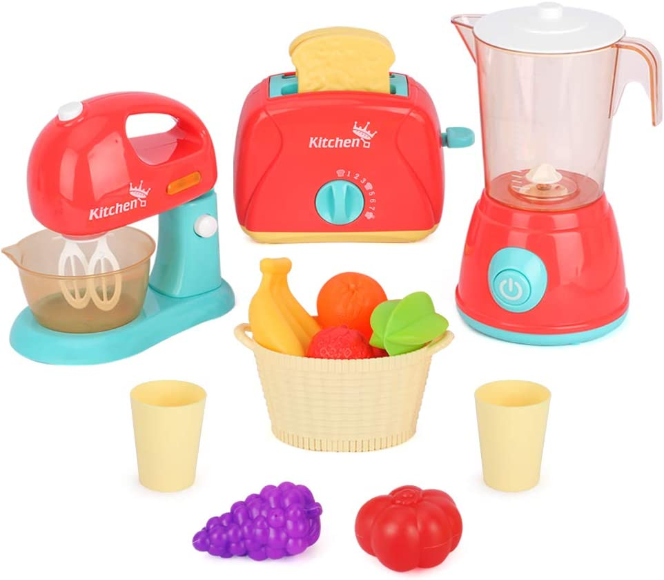 LBLA Kids Kitchen Appliance Toys Pretend Kitchen Play Toy Set,Kids Role Play Toy with Mixer, Blender ,Toaster, Fruits, Bread and Kitchen Accessories for Children