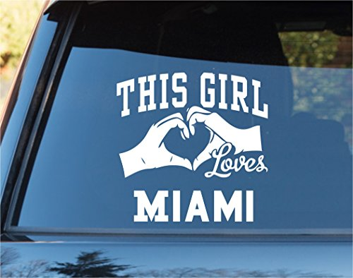 This Girl Loves Miami Decal Sticker Car Window Truck Laptop Tablet Heat Dolphins