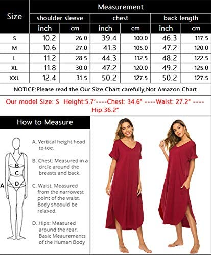 Bloggerlove Nightgown Women Comfy Loungewear Short Sleeve Nightshirts Casual V Neck Sleepwear S-XXL