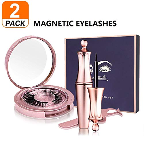 JAHUL Magnetic Eyeliner Kit,2 Pair of Magnetic False Eyelashes, Magnetic Eyeliner And Eyelashes Tweezers, No Glue Full Eye 5 Magnets Reusable Fake Eyelashes Natural Soft Eyelashes Extensions-Miami (Best Eyelash Extensions Miami)