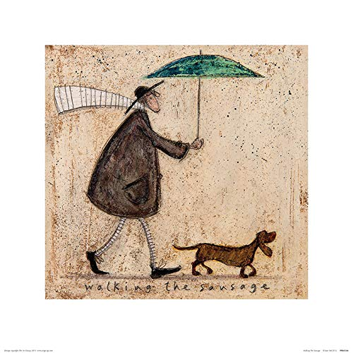 Art Group The Walking The Sausage Sam Toft Print, Paper, Multi-Colour, 40 x 40 x 1.3 cm The Art Group PPR45566