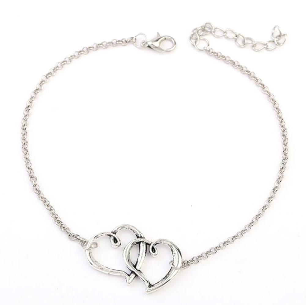Chakil 1 pcs Double heart Fashion Bracelet Charm Silver Expandable Wire anklets Chain for Womens Girls Christmas Wedding Party Jewellery