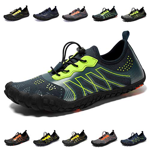 Athlefit Mens Womens Water Shoes Quick Dry Barefoot Aqua Shoes for Beach Swim Kayaking Snorkeling Water Aerobic Yoga Blue Size 6.5